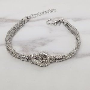 Sterling Silver Italian Mesh Style Bracelet w/ CZ